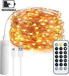 【2019 NEW】Fairy String Lights, USB Rechargeable Christmas String Light 100 LEDs with Remote Control Timer, 33Ft Movable Firefly Starry String Lights for Bedroom Christmas Indoor Outdoor Party Wedding