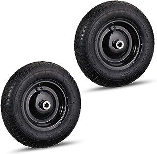 2 x kruiwagenwiel 4.80 4.00-8, luchtband, reservewiel kruiwagen, stalen velg, ventiel, band tot 120 kg, zwart