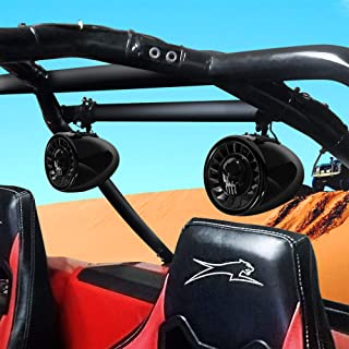 "GoHawk AS5-X Gen.2 All-in-One 600W Built-in Amplifier 5"" Full Range Waterproof Bluetooth ATV RZR UTV Stereo Speakers Audio Amp System, 1-1.5"" Bar Yamaha Polaris 4 Wheeler Can-Am (AS5-X Black)"
