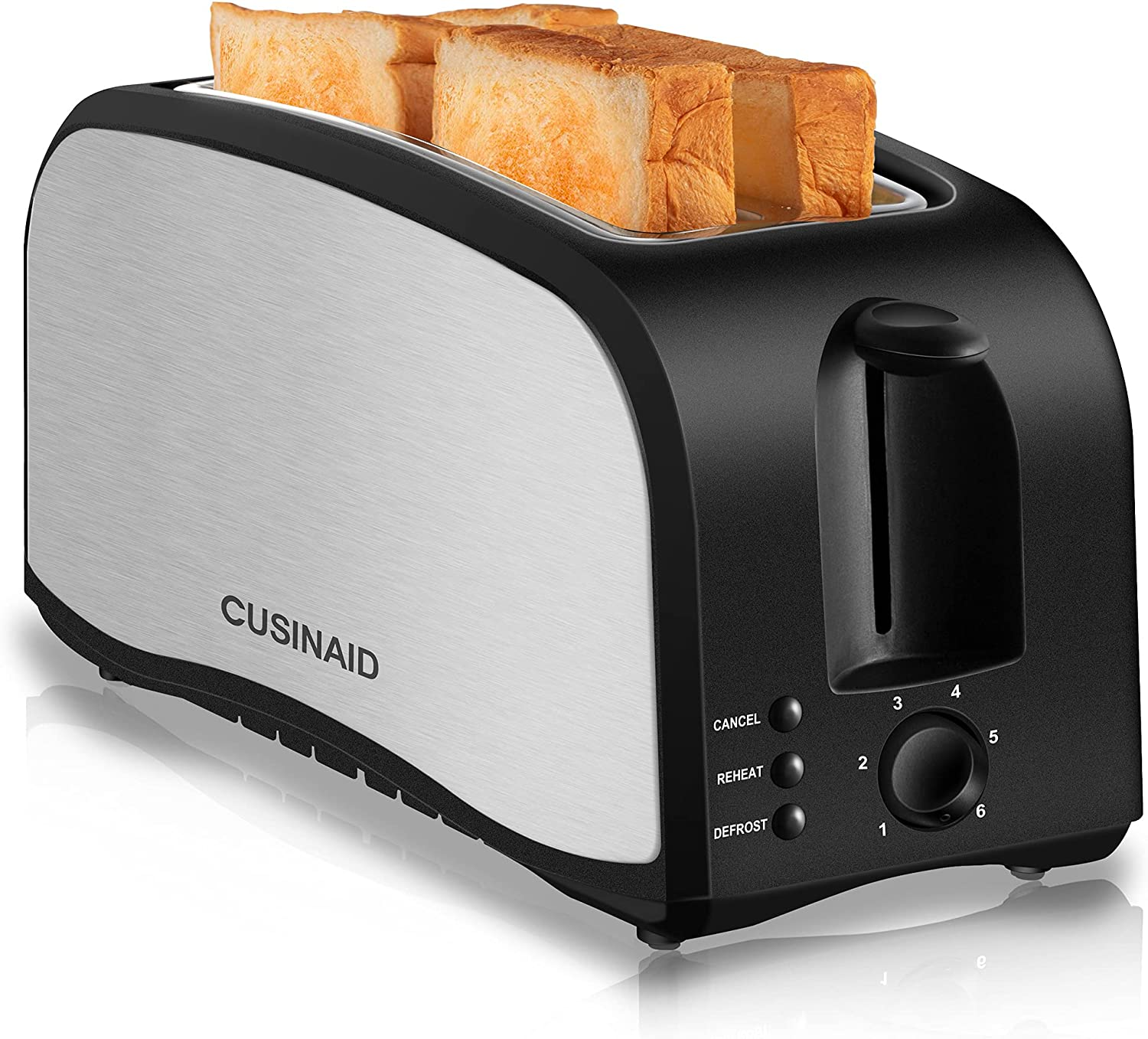 Toaster 4 Slice, CUSINAID 2 Long Slot Toasters with Defrost, Reheat, Cancel Function, Stainless Steel Toaster, 6 Browning Settings, Black, ST035