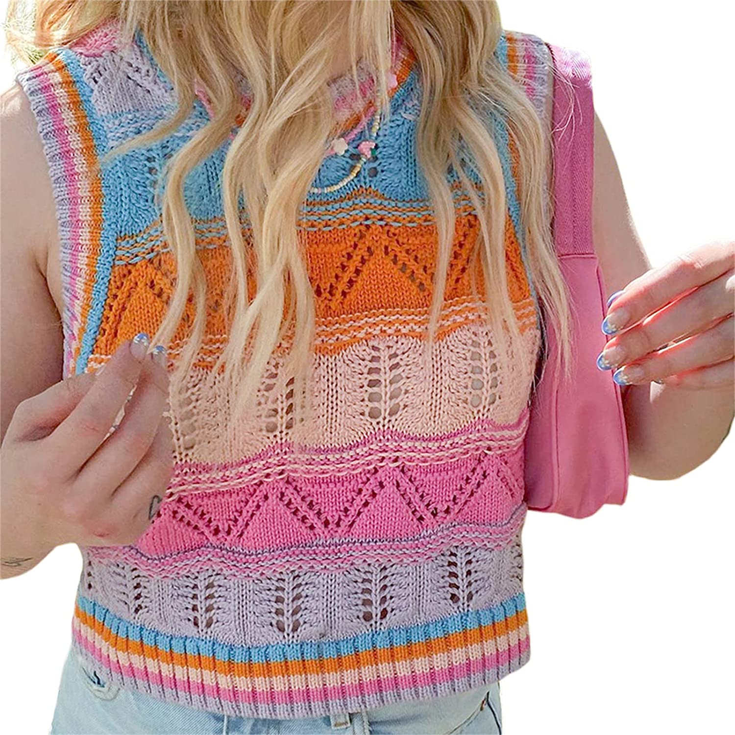 Womens Knitted Tank Top Y2k Cropped Striped Sweater Vest Slim Fitted Sleeveless Turtleneck Tops 90s E Girls