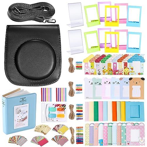 Neewer 56-en-1 Kit Accessoires pour Fujifilm Instax Mini 70 (Noir): Housse avec Bandoulière Réglable,Cadres,Album,Filtres,Ruban Adhésif,et Autocollant Photos