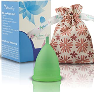 Athena Menstrual Cups Period Cup - One Pack   Regular Flow   Transparent Green Size 2 Large   A Softer Menstruation Cup Made for Easier Periods   Excellent Tampon and Pad Alternative