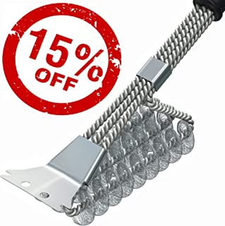 BBQ Grill Brush and Scrapper - 18in - Premium Safe 4 in 1 Stainless Steel Barbecue Cleaner Bristle Free Brush - Non-Slip Handle for Charcoal Grill Weber Gas - Steel/Ceramic/Iron (HavyDuty)