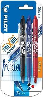 comprar comparacion Pilot FriXion Clicker - Bolígrafo roller de gel de tinta borrable (3 unidades), color negro, rojo y azul