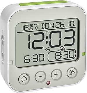 TFA Dostmann Funk Bingo 2.0 - Despertador Digital con indicador de Temperatura, 2 alarmas, Color Blanco, 95 x 41 x 96 mm