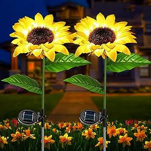 VStoySunflower Solar Lights Outdoor Garden, Waterproof Metal Decor Stake Art Flower LED Lighting, SolarPower Lamp Decorations for Yard Patio Lawn Porch Grave Backyard Walkway(2 Pack)