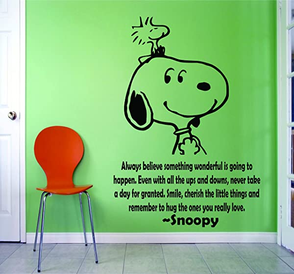SNOOPY WALL DECALS BEST FRIENDS QUOTES QUOTE Decal Charlie Brown Cartoon Character Vinyl Art Stickers For Toddler Baby Kids Rooms Bedrooms Decor Decoration For Nursery Buddies Size 20x20 Inch