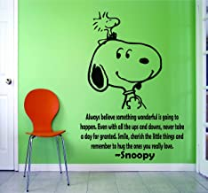 SNOOPY WALL DECALS BEST FRIENDS QUOTES QUOTE Decal Charlie Brown Cartoon Character Vinyl Art Stickers for toddler, baby, kids rooms bedrooms decor decoration for nursery buddies Size 20x20 inch