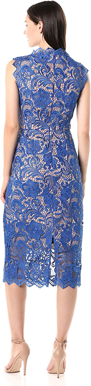 Dress the Population Women's Claudette Lace Sheath Midi Dress, Cobalt/Nude, X-Small