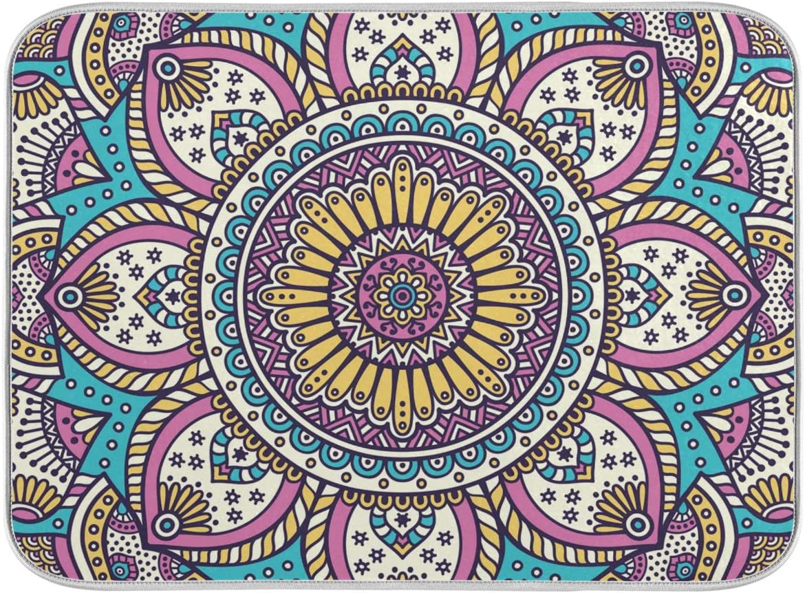 Moudou Mandala Dish Miami Mall Drying Mat Heat Absorbent Reversib Limited time for free shipping Resistant