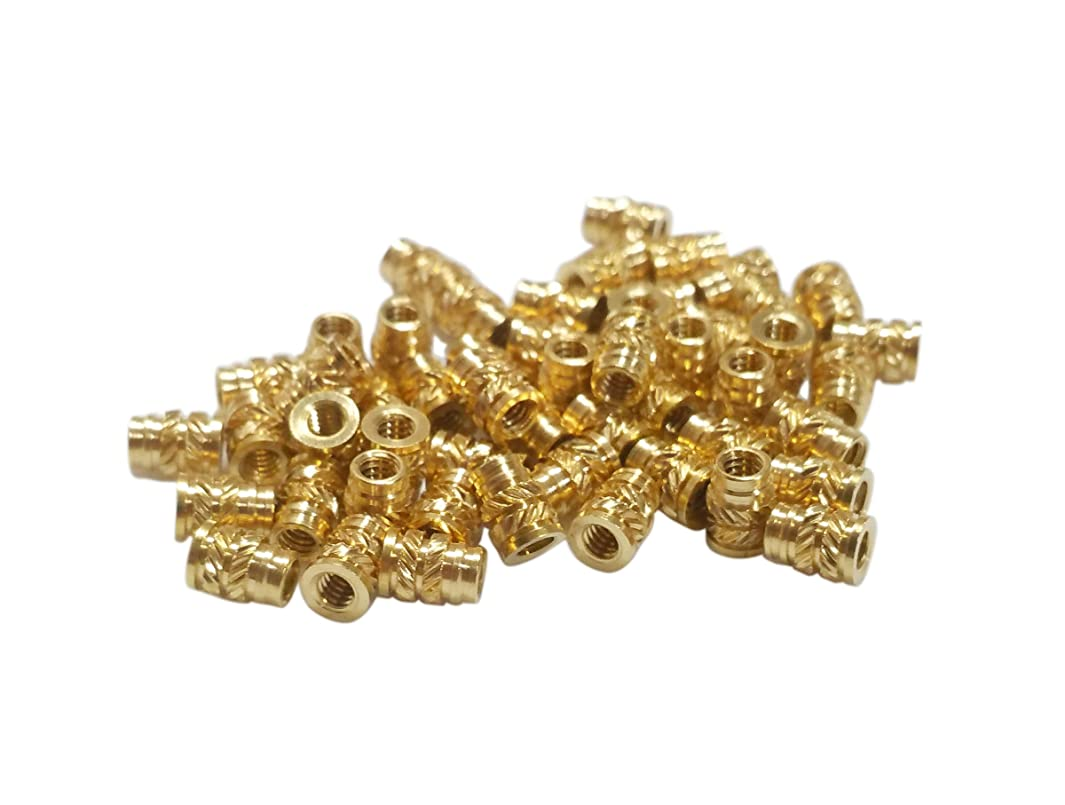 [initeq] #10#10-24 and #10-32 Threaded Heat Set Inserts for 3D Printing Brass Thread Insert Nuts for Plastic (50, 10-24 Long)
