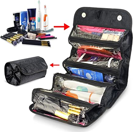 Zodaca 4 Zippered Compartment Roll Up Bathroom Organizer Cosmetic Travel Bag, Black