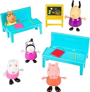 Jazwares Peppa Pig School Time Figure Playset, 8 Pieces - Includes Character Figures, Desks & Chalkboard - Age 2+