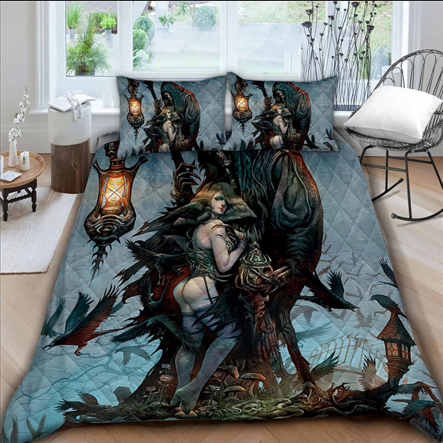 GAMUDA Seattle Mall Angel Demon A surprise price is realized Skull Art Comforters Set Bedding Quilt Pi