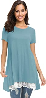 Afibi Women's Tops Short Sleeve Lace Scoop Neck A-Line Tunic Blouse