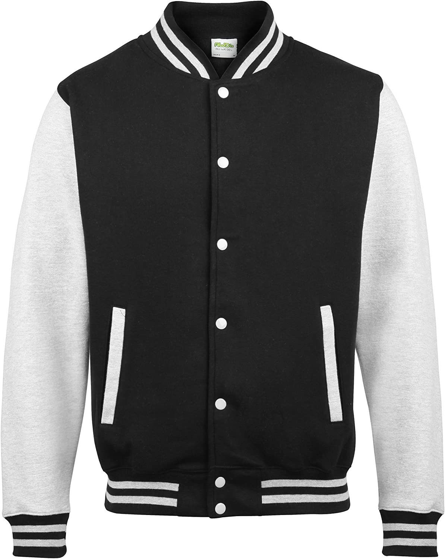 Awdis Unisex Varsity Jacket (L) (Jet Black/Heather Gray) at  Men's Clothing store