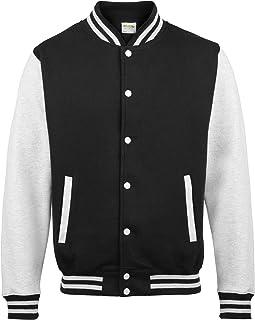 Awdis Unisex Varsity Jacket (XL) (Jet Black/Heather Gray)