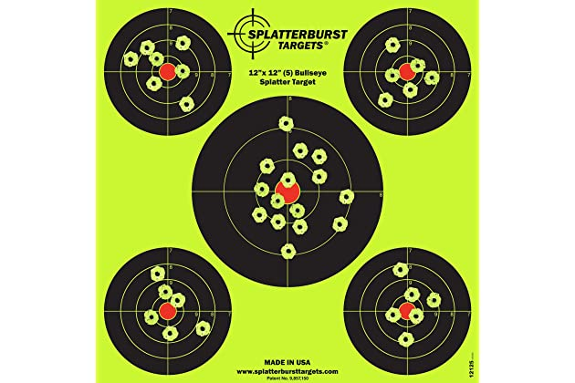 12 x12 inch Splatterburst Targets 5 Bullseye Reactive Shooting Target -...