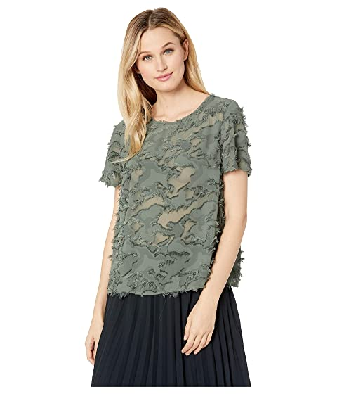bb6ead5c0 TWO by Vince Camuto Short Sleeve Fringed Camo Jacquard Tee at Zappos.com