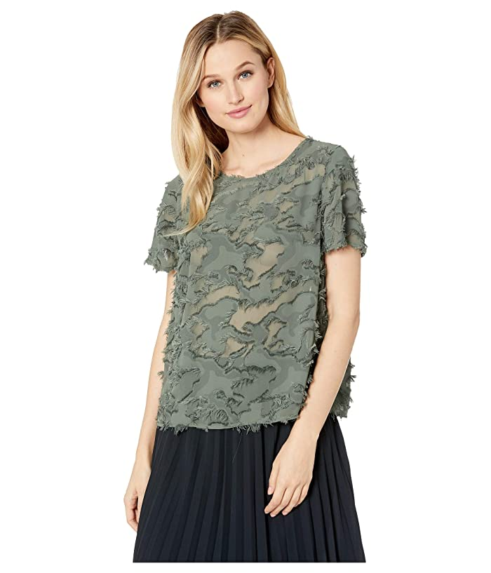 TWO by Vince Camuto Short Sleeve Fringed Camo Jacquard Tee (Military Green) Women