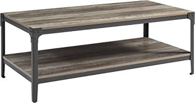 Walker Edison Furniture Company Rustic Farmhouse Rectangle Wood and Metal Frame Coffee Accent Table Living Room 2 Tier Storage Shelf, 46 inch, Grey Wash