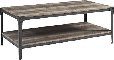 Walker Edison Declan Urban Industrial Angle Iron and Wood Coffee Table, 46 inch, Grey