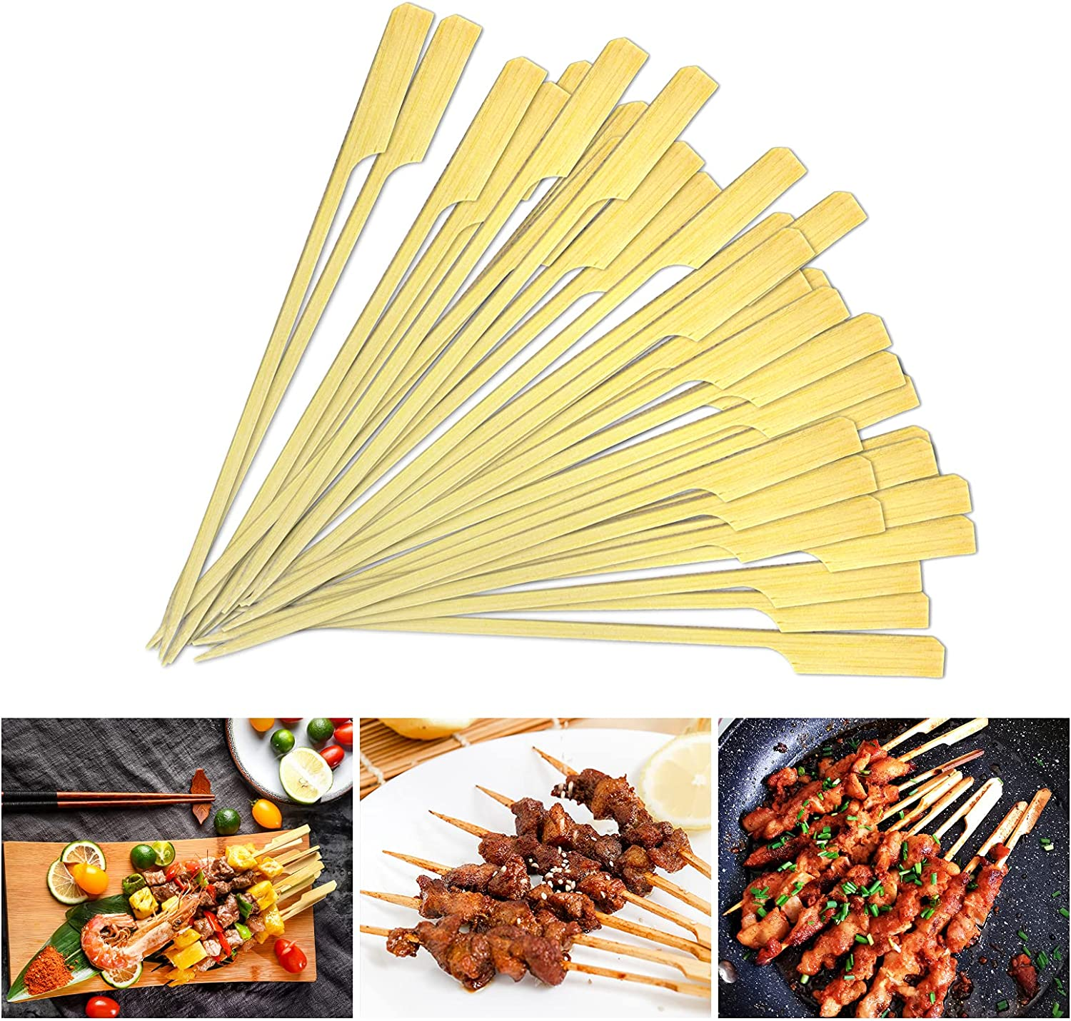 BEJILA 5Inch Bamboo Wooden Skewers Semi Thick Natural High quality new 5 ☆ very popular Point Bam