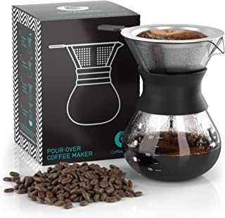 Coffee Gator Paperless Pour Over Coffee Dripper Brewer, 10.5oz, Black
