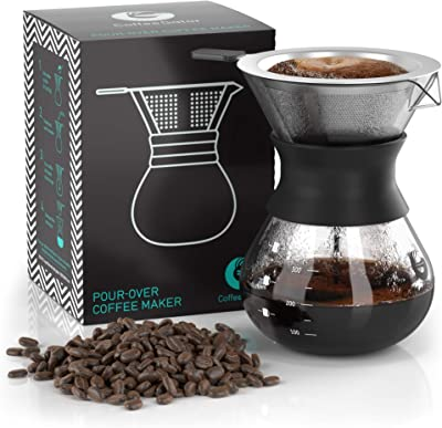 Coffee Gator Pour Over Coffee Maker - 10.5 oz Paperless Coffee Pour Over Set w/ Glass Carafe & Stainless-Steel Mesh Filter, Black