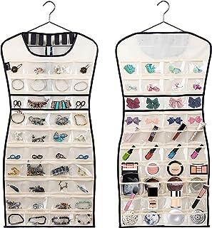 MISSLO Hanging Jewellery Organiser 80 Clear Pockets & 7 Hook Loops Storage for Storing Jewelries, Earrings, Necklaces, Mak...