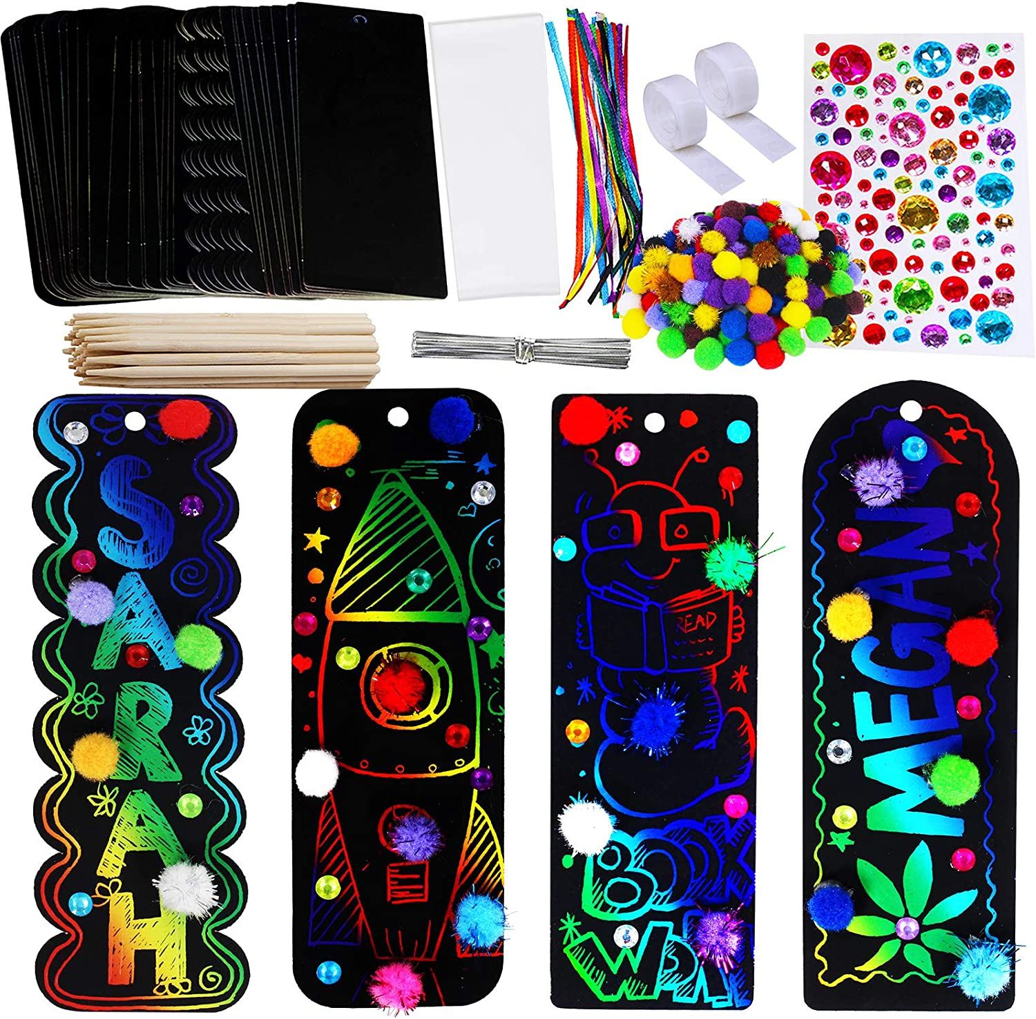 Winlyn 36 Max Omaha Mall 59% OFF Sets 4 Styles Magic Rainbow Bookmarks Making K Scratch