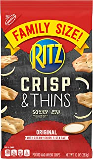 Ritz Crisp & Thins Original with Creamy Onion & Sea Salt Chips, Family Size, 10 oz
