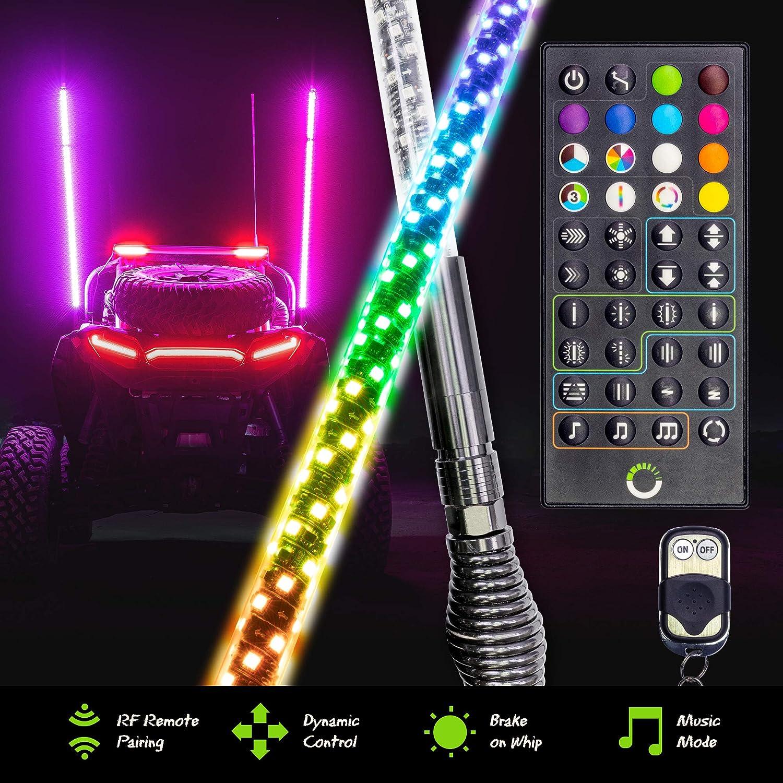 2pc 3ft Spiral LED Whip Lights for UTV ATV [RF Remote Pairin] [Dynamic LED Control] [Brake-On-Whip] [2-Layer PVC] LED Lighted Whips Antenna for RZR Can-Am Polaris UTV ATV Accessories