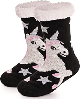 Boys Girls Unicorn Slipper Socks Fuzzy Warm Soft Thick Heavy Fleece lined Christmas Stockings Kid Child Toddler