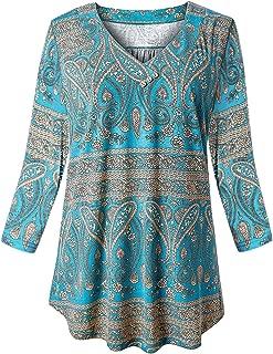 Fulbelle Women Plus Size Tunic V Neck 3/4 Sleeve Blouses Floral Shirts XL-4XL
