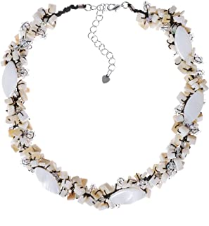 Oval White Mother of Pearl with Rainbow Seed Beads Clustered Chunky Choker Necklace