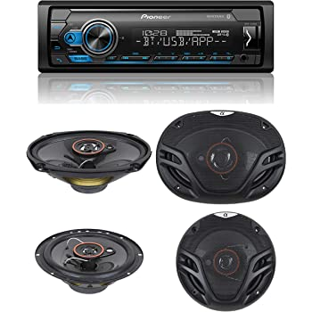 """Pioneer Stereo Single DIN Bluetooth In-Dash USB MP3 Auxiliary AM/FM/Digital Media Pandora and Spotify Car Stereo Receiver with Pair of 6.5"""" and Pair of 6x9"""" Alphasonik Speakers"""