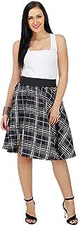FabnFab RED Check Print Women Knee Length Polyester Skirt