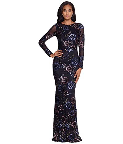 Betsy & Adam Long Long Sleeve Floral Sequin Gown