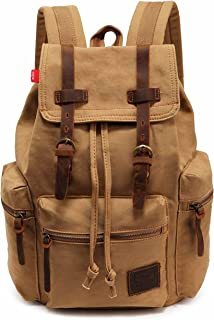 Vintage Canvas Backpack, HuaChen Mens Travel Rucksack for Laptop Hiking School Bookbag