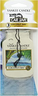 Yankee Candle Car Jar Classic Cardboard Car Home and Office Hanging Air Freshener Coconut Bay Scent Pack of 3