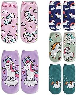 Womens Girls 3D Novelty Funny Unicorn Ankle Socks, Crazy Cute Cartoon Socks
