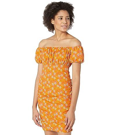 WAYF Off Shoulder Ruched Mini Dress