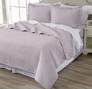 Home Fashion Designs 3-Piece All Season Quilt Set. King Size Quilt with 2 Shams. Soft Microfiber Bedspread and Coverlet. Emerson Collection (Lilac)