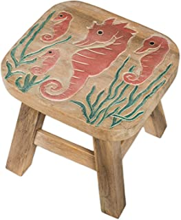Sea Island Imports Seahorse Design Hand Carved Acacia Hardwood Decorative Short Stool