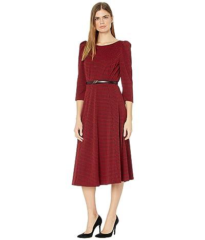 Calvin Klein Belted Houndstooth Midi Dress (Black/Red) Women