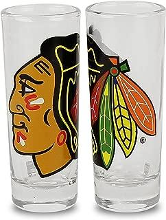 NHL Color Team Logo 2oz Cordial Shot Glass 2-Pack (Chicago Blackhawks)