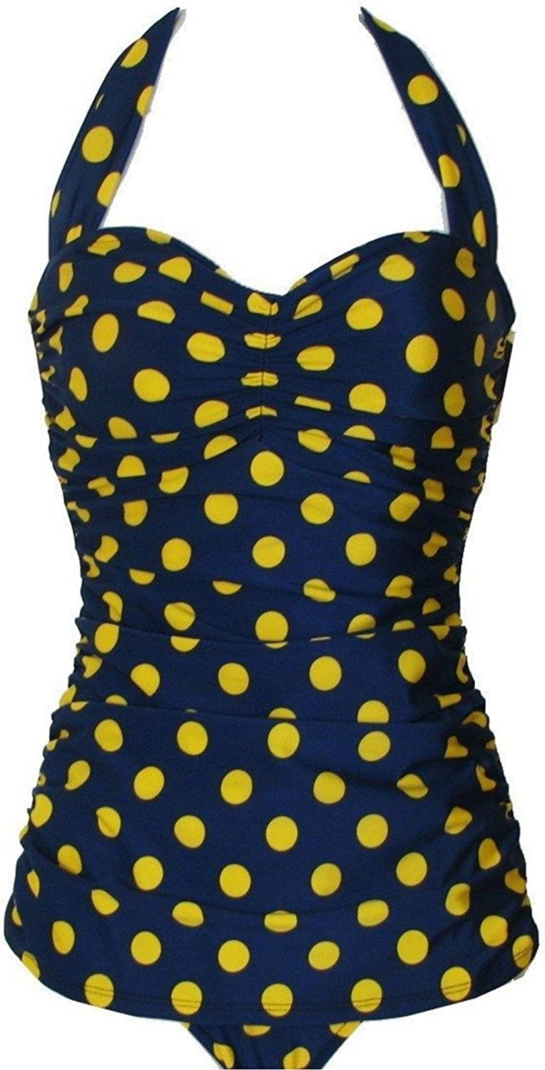 Esther Williams Navy bluee Yellow Polka DOT Pinup 1950's ONE Piece