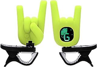 حرکت دستی Clip-On Tuner Rock On Devil Horn با گیتار ، باس ، اوکولل ، ویولن ، تنظیمات رنگی - زرد نئون